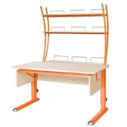 Парта для школьника для дома Астек МОНО-2 с надстройкой (Цвет столешницы:Береза, Цвет ножек стола:Оранжевый) - фото 23756
