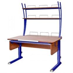 Парта для школьника для дома Астек МОНО-2 с надстройкой (Цвет столешницы:Яблоня, Цвет ножек стола:Синий) - фото 23765