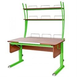 Парта для школьника для дома Астек МОНО-2 с надстройкой (Цвет столешницы:Яблоня, Цвет ножек стола:Зеленый) - фото 23768