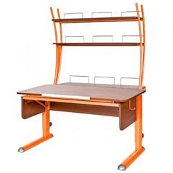 Парта для школьника для дома Астек МОНО-2 с надстройкой (Цвет столешницы:Яблоня, Цвет ножек стола:Оранжевый) - фото 23771