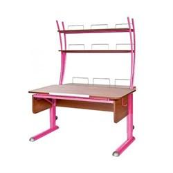Парта для школьника для дома Астек МОНО-2 с надстройкой (Цвет столешницы:Яблоня, Цвет ножек стола:Розовый) - фото 23774