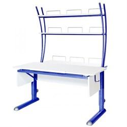 Парта для школьника для дома Астек МОНО-2 с надстройкой (Цвет столешницы:Белый, Цвет ножек стола:Синий) - фото 23780