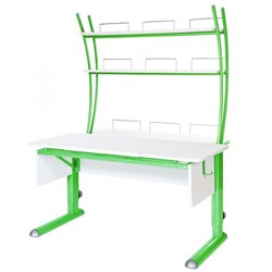 Парта для школьника для дома Астек МОНО-2 с надстройкой (Цвет столешницы:Белый, Цвет ножек стола:Зеленый) - фото 23783