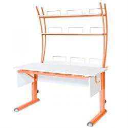 Парта для школьника для дома Астек МОНО-2 с надстройкой (Цвет столешницы:Белый, Цвет ножек стола:Оранжевый) - фото 23786