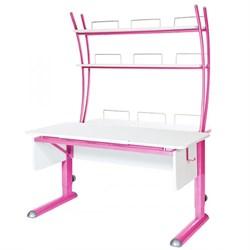 Парта для школьника для дома Астек МОНО-2 с надстройкой (Цвет столешницы:Белый, Цвет ножек стола:Розовый) - фото 23789