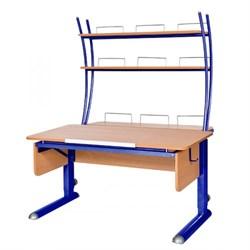 Парта для школьника для дома Астек МОНО-2 с надстройкой (Цвет столешницы:Бук, Цвет ножек стола:Синий) - фото 23798