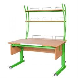 Парта для школьника для дома Астек МОНО-2 с надстройкой (Цвет столешницы:Бук, Цвет ножек стола:Зеленый) - фото 23801