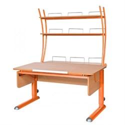 Парта для школьника для дома Астек МОНО-2 с надстройкой (Цвет столешницы:Бук, Цвет ножек стола:Оранжевый) - фото 23804