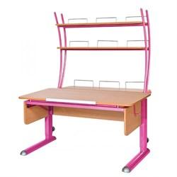 Парта для школьника для дома Астек МОНО-2 с надстройкой (Цвет столешницы:Бук, Цвет ножек стола:Розовый) - фото 23807