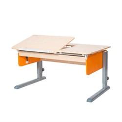 Детская парта Астек ЛИДЕР Береза (Цвет столешницы:Береза, Цвет боковин:Оранжевый, Цвет ножек стола:Серый) - фото 23859