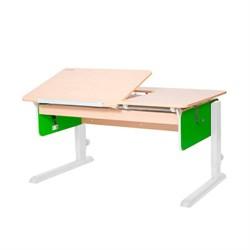 Детская парта Астек ЛИДЕР Береза (Цвет столешницы:Береза, Цвет боковин:Зеленый, Цвет ножек стола:Белый) - фото 23871