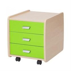Тумба Астек Лидер береза на 3 ящика с цветными фасадами (Цвет товара:Зеленый) - фото 23993