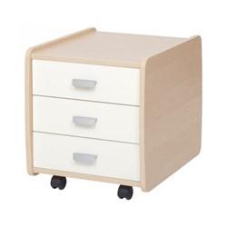 Тумба Астек Лидер береза на 3 ящика с цветными фасадами (Цвет товара:Белый) - фото 23994
