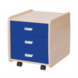 Тумба Астек Лидер береза на 3 ящика с цветными фасадами (Цвет товара:Синий) - фото 23998