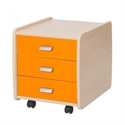 Тумба Астек Лидер береза на 3 ящика с цветными фасадами (Цвет товара:Оранжевый) - фото 24000