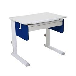 Парта для первоклассника Астек Юниор с ящиком (Цвет столешницы:Белый, Цвет боковин:Синий, Цвет ножек стола:Белый) - фото 24188