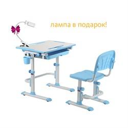 Комплект Cubby парта и стул-трансформеры Karo (Цвет столешницы:Белый, Цвет ножек стола:Голубой) - фото 24461