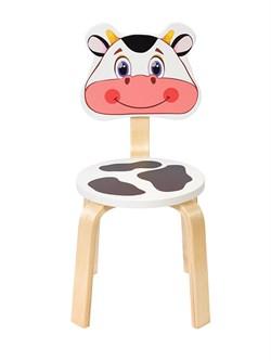 Детский стульчик Polli Tolli Мордочка Коровка (Цвет сиденья и спинки стула:Белый, Цвет каркаса:Береза) - фото 24886