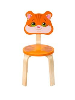 Детский стульчик Polli Tolli Мордочка Котёнок (Цвет сиденья и спинки стула:Оранжевый, Цвет каркаса:Береза) - фото 24891