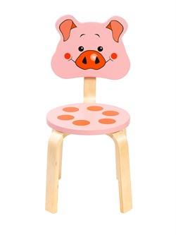Детский стульчик Polli Tolli Мордочка Поросёнок (Цвет сиденья и спинки стула:Розовый, Цвет каркаса:Береза) - фото 24895