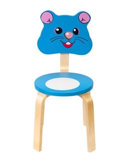 Детский стульчик Polli Tolli Мордочка Мышка (Цвет сиденья и спинки стула:Голубой, Цвет каркаса:Береза) - фото 24911