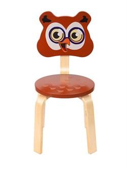 Детский стульчик Polli Tolli Мордочка Совушка (Цвет сиденья и спинки стула:Коричневый, Цвет каркаса:Береза) - фото 24916
