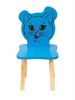 Детский стульчик Polli Tolli Джери Киса (Цвет сиденья и спинки стула:Голубой, Цвет каркаса:Береза) - фото 24937