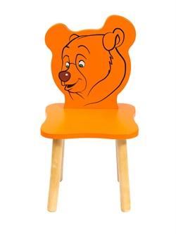 Детский стульчик Polli Tolli Джери Медвежонок (Цвет сиденья и спинки стула:Оранжевый, Цвет каркаса:Береза) - фото 24942