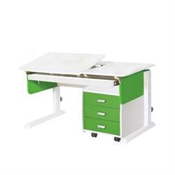 Детская парта для дома Астек ЛИДЕР с выдвижным органайзером и тумбой на 3 ящика (Цвет столешницы:Белый, Цвет боковин:Зеленый, Цвет ножек стола:Белый) - фото 25019