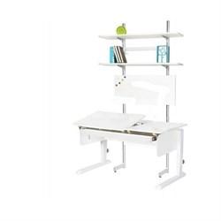Детская парта Астек ЛИДЕР с выдвижным органайзером и стеллажом (Цвет столешницы:Белый, Цвет боковин:Белый, Цвет ножек стола:Белый) - фото 25047