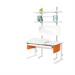 Детская парта Астек ЛИДЕР с выдвижным органайзером и стеллажом (Цвет столешницы:Белый, Цвет боковин:Оранжевый, Цвет ножек стола:Белый) - фото 25063