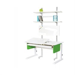 Детская парта Астек ЛИДЕР с выдвижным органайзером и стеллажом (Цвет столешницы:Белый, Цвет боковин:Зеленый, Цвет ножек стола:Белый) - фото 25071