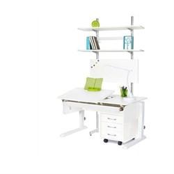 Детская парта Астек ЛИДЕР с выдвижным органайзером, тумбой на 3 ящика и стеллажом (Цвет столешницы:Белый, Цвет боковин:Белый, Цвет ножек стола:Белый) - фото 25102