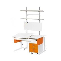 Детская парта Астек ЛИДЕР с выдвижным органайзером, тумбой на 3 ящика и стеллажом (Цвет столешницы:Белый, Цвет боковин:Оранжевый, Цвет ножек стола:Белый) - фото 25118