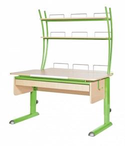 Парта для дома Астек МОНО-2 с надстройкой и выдвижным органайзером (Цвет столешницы:Береза, Цвет ножек стола:Зеленый) - фото 25134