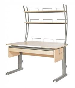 Парта для дома Астек МОНО-2 с надстройкой и выдвижным органайзером (Цвет столешницы:Береза, Цвет ножек стола:Серый) - фото 25140
