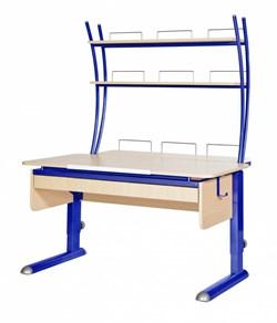 Парта для дома Астек МОНО-2 с надстройкой и выдвижным органайзером (Цвет столешницы:Береза, Цвет ножек стола:Синий) - фото 25146