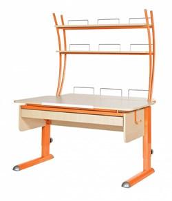 Парта для дома Астек МОНО-2 с надстройкой и выдвижным органайзером (Цвет столешницы:Береза, Цвет ножек стола:Оранжевый) - фото 25158