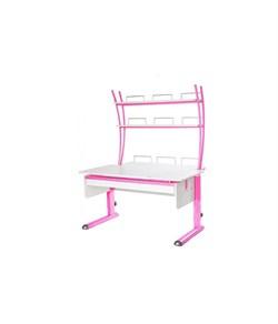 Парта для дома Астек МОНО-2 с надстройкой и выдвижным органайзером (Цвет столешницы:Белый, Цвет ножек стола:Розовый) - фото 25170