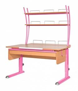 Парта для дома Астек МОНО-2 с надстройкой и выдвижным органайзером (Цвет столешницы:Бук, Цвет ножек стола:Розовый) - фото 25176