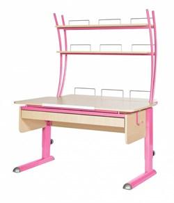 Парта для дома Астек МОНО-2 с надстройкой и выдвижным органайзером (Цвет столешницы:Береза, Цвет ножек стола:Розовый) - фото 25182