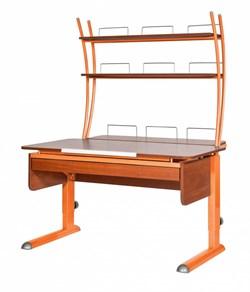 Парта для дома Астек МОНО-2 с надстройкой и выдвижным органайзером (Цвет столешницы:Яблоня, Цвет ножек стола:Оранжевый) - фото 25188