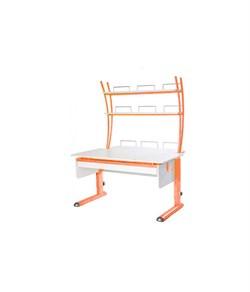 Парта для дома Астек МОНО-2 с надстройкой и выдвижным органайзером (Цвет столешницы:Белый, Цвет ножек стола:Оранжевый) - фото 25194