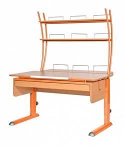 Парта для дома Астек МОНО-2 с надстройкой и выдвижным органайзером (Цвет столешницы:Бук, Цвет ножек стола:Оранжевый) - фото 25200