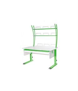 Парта для дома Астек МОНО-2 с надстройкой и выдвижным органайзером (Цвет столешницы:Белый, Цвет ножек стола:Зеленый) - фото 25212