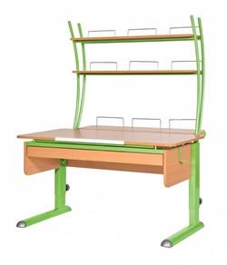 Парта для дома Астек МОНО-2 с надстройкой и выдвижным органайзером (Цвет столешницы:Бук, Цвет ножек стола:Зеленый) - фото 25218