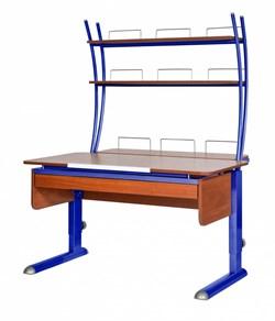 Парта для дома Астек МОНО-2 с надстройкой и выдвижным органайзером (Цвет столешницы:Яблоня, Цвет ножек стола:Синий) - фото 25224
