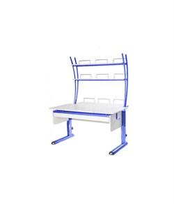 Парта для дома Астек МОНО-2 с надстройкой и выдвижным органайзером (Цвет столешницы:Белый, Цвет ножек стола:Синий) - фото 25230