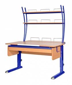 Парта для дома Астек МОНО-2 с надстройкой и выдвижным органайзером (Цвет столешницы:Бук, Цвет ножек стола:Синий) - фото 25236