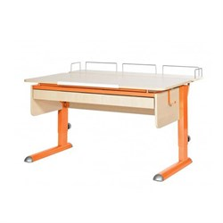 Парта для дома Астек МОНО-2 с фронтальной приставкой и выдвижным органайзером (Цвет столешницы:Береза, Цвет ножек стола:Оранжевый) - фото 25260